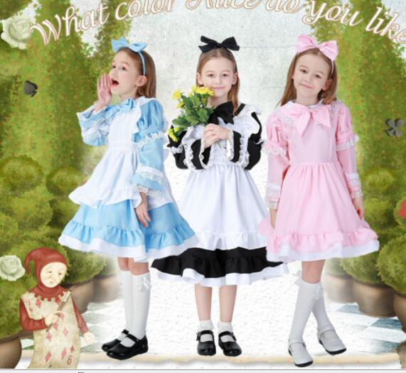 Kids Girls Alice Maid Cosplay Carnival Costume Child Fancy Dress Halloween Alice In Wonderland Costume Lolita Maid Dress 3-15Y