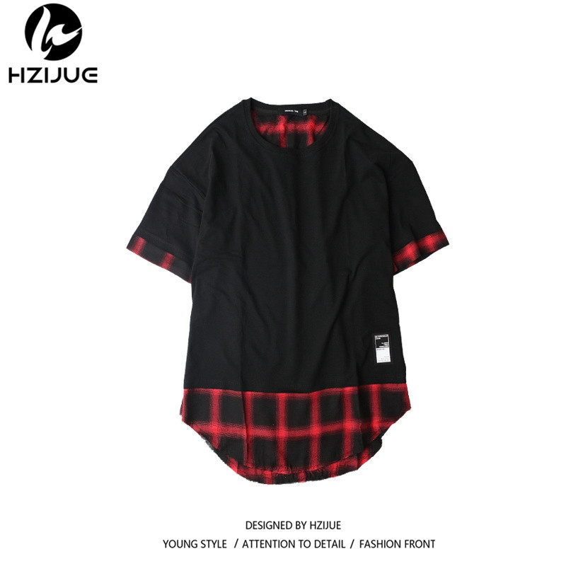 0f2836d1036f HZIJUE 2018 HIP HOP men T shirt Oversized Solid plaid Patchwork long hem  High street kanye fashion men top tees T shirt