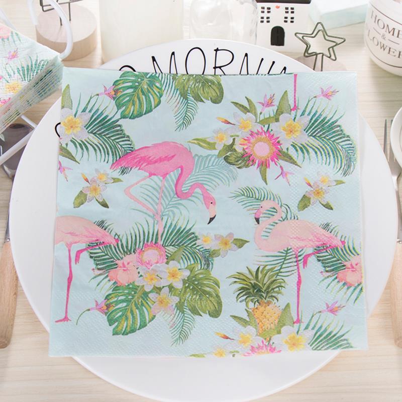 20pcs/set Hot sale Green Flamingo Palm leaf Flowers Paper