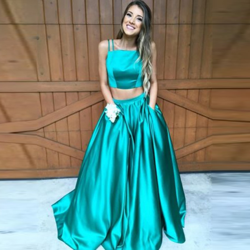 Bright Green Two Pieces Dress Women Spaghetti Strap Short Top With Puffy A Line Floor Length Long Maxi Dress Custom Made Dresses