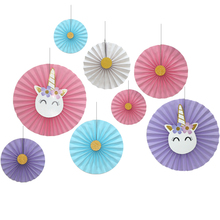 1set/8 Pack of Unicorn Birthday Party Decoration Hanging Paper Fans for Mermaid Baby Shower Decor Photo Props Party Accessories