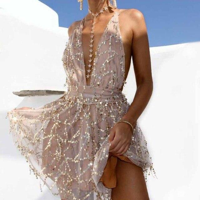 72f9ed8d5327 Sexy Sequins Deep V neck Dresses Women Backless Halter Black Gold Mini  Dress Party Tassel Summer Clubwear Dress Vestidos YF673
