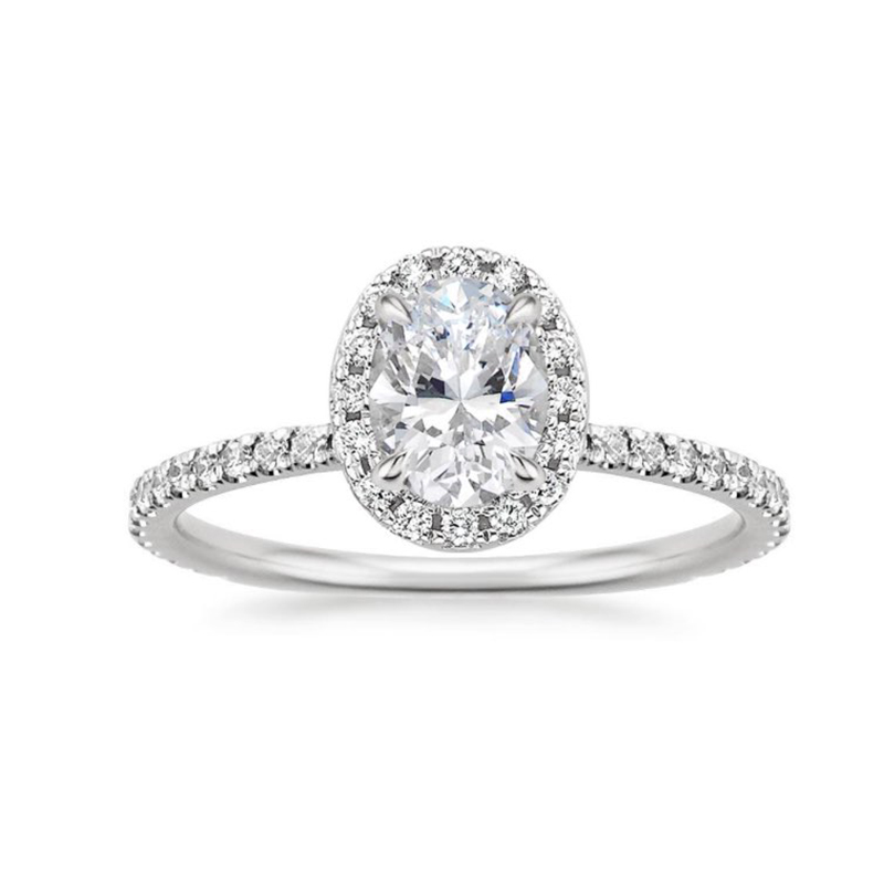 Solid 10K White Gold 1ct 5x7mm Oval Cut DF Moissanite Engagement Ring Anniversary Ring Moissanite Ring