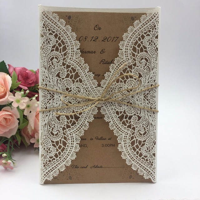 1pcs Graceful Lace Valentine S Day Card Laser Cut Invitations