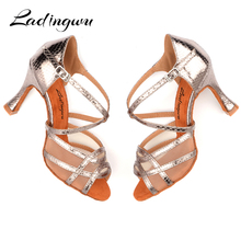 Ladingwu Latin dance shoes Women Fine snake texture PU Gold Silver Gray Cuba Heels 9cm Salsa Profession Ballroom dancing Shoes