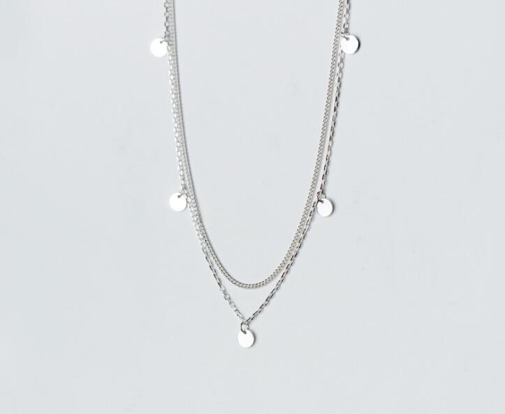 1 pc 100% réel 925 argent Sterling bijoux fins doubles rangées géométrique rond pièce Station déclaration collier géométrique GTLX1640