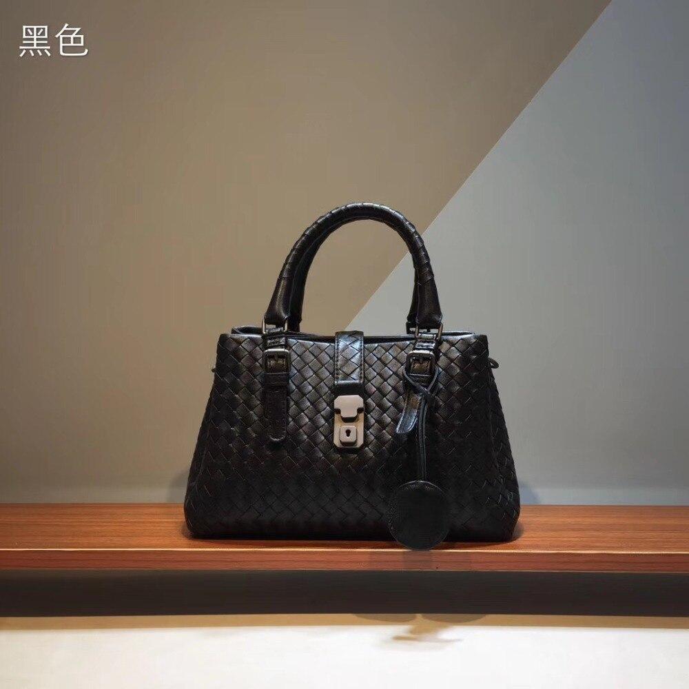 2019 Rome Bag High-capacity Internal And External Dermis Handbag  The Single Shoulder Bag  Fashion Woven Bag Genuine Leather