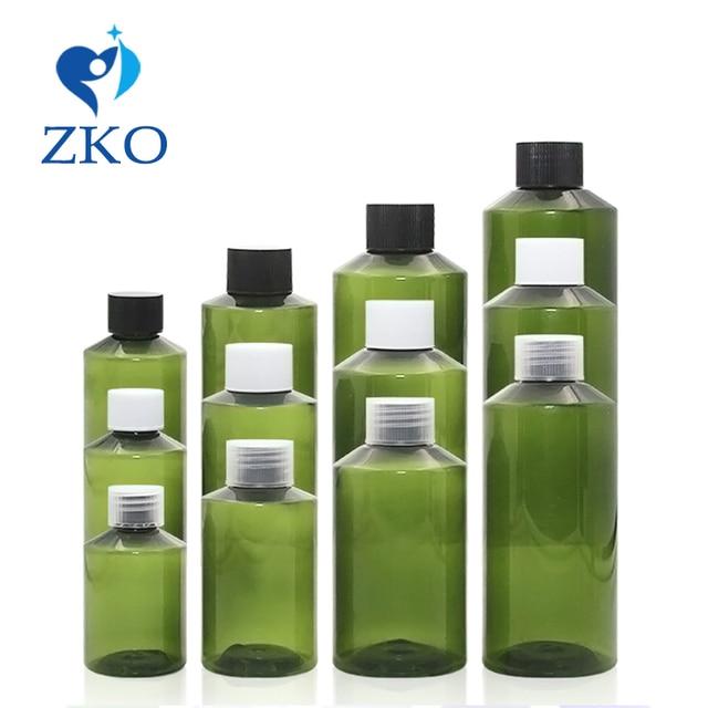 1 pcs 50ml 100ml 150ml 200ml green sloping shoulder pet bottle with cola cap plastic empty bottle Cosmetics bottle travel bottle