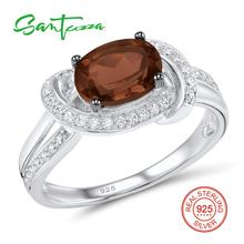 Серебряные кольца для женщины натуральный коричневый камень белые кубического циркония камни кольца из стерлингового серебра 925 ювелирные изделия