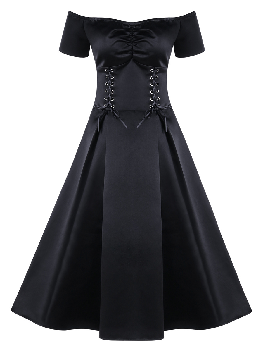 Gothic Lace Up Party Dress For Women Summer Slash Neck Black High Waist Expansion Slim Robe Elastic Evening Goth Swing Dresses