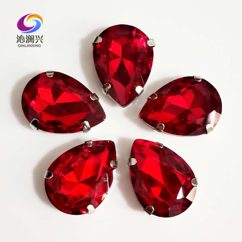 Red colorTeardrop shape High quality AAAA Glass Crystal flatback sew on rhinestones with ,Diy Clothing accessories SWS06