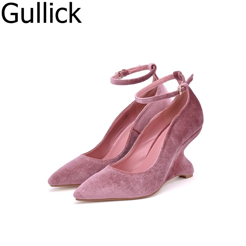 Hottest Selling Woman Pink Black Shoes Pointed Toe Ankle Strap Strange Heels Pumps High Quality PU Suede High Heel Dress Shoes цена