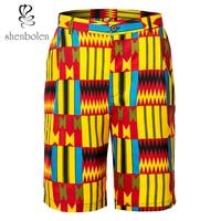 Shenbolen African Men's Clothing Ankara Print Short Pants Tradition Dashiki Kent Fabric Man Clothes New Style Beach Pants