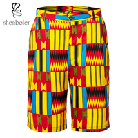 Shenbolen African Men's Clothing Ankara Print Short Pants Tradition Dashiki Kent Fabric Man Clothes New Style Beach Pants