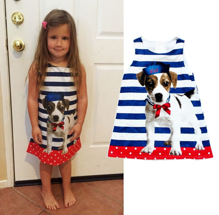 Baby kids girls lovely dog Minions summer Clothes dress Cool sleeveless striped one-piece dress 3 4 5 6 7 Years populous baby kids girls clothes princess black short fashion summer cool solid partytulle dresses 2 3 4 5 6 7 years