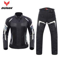 DUHAN Women Motorcycle Jacket Motorcycle Pants Suit Jacket Moto Breathable Mesh Touring Motorbike Clothing Set Protective Gear