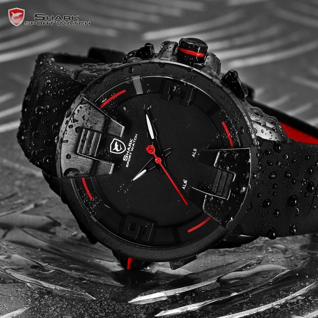 Wobbegong SHARK Sport Watch Black New Design Digital Date LED Analog Men's Quartz Silicon Band Geek Men Outdoor Clock Gift/SH557 4