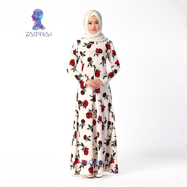 046 Top Estilo de La Moda Flor de Largo Abayas Musulmán Vestido Ocasional Para Las Mujeres de Las Mujeres Ropa