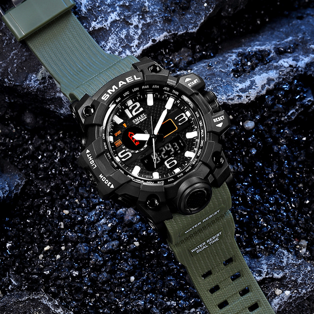 Men Military Watch 50m Waterproof Wristwatch LED Quartz Clock Sport Watch Male relogios masculino 1545 Sport Watch Men S Shock 4