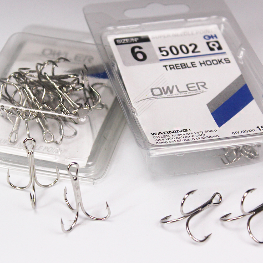 15pcs/box 5002 Owner Treble Hooks Silver Size 1/2/4/6/8/10/12/14#  Bait Fishing Tackle Round Bend  For Pike Bass