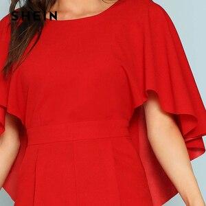 Image 5 - Женский однотонный комбинезон SHEIN, красный комбинезон с открытой спиной и открытым плечом, элегантный эластичный комбинезон накидка на осень