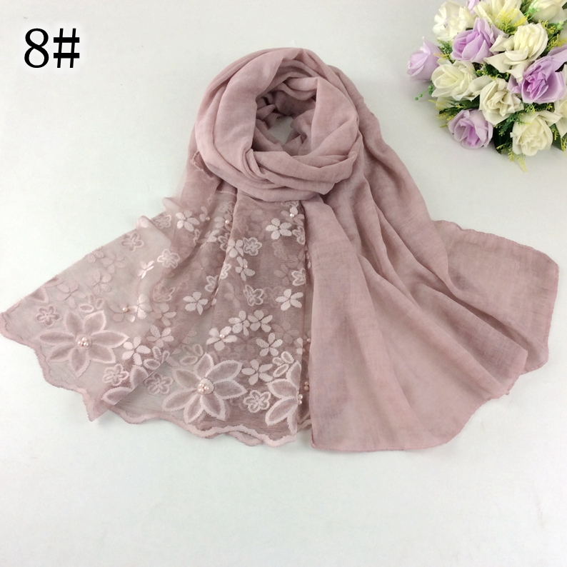 2018 New Arrival Nice Embroidery Cotton Lace Design Long Women Scarves And Shawls 10pcs/lot