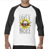 2017 New Arrive Funny Guns And Roses Hard Rock funny Long TShirts raglan sleeve T Shirt men