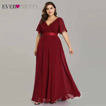 Plus Size Pink Prom Dresses Long Ever Pretty V-Neck Chiffon A-line Robe De Soiree 2019 Navy Blue Formal Party Gowns for Women - DISCOUNT ITEM  35% OFF All Category
