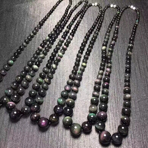Image 5 - Fine Rainbow Eye Black Natural Obsidian Stone Necklace Round Bead Tower Chain Necklace for Women Men Fashion Jewelry JoursNeige