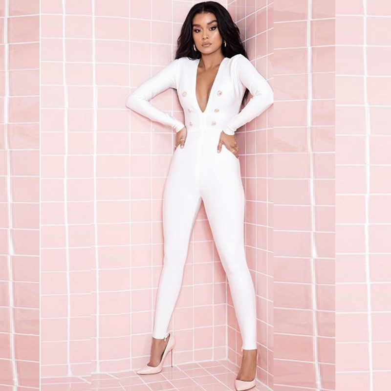 fced322ed50 Newest Fashion 2018 White Celebrity Deep V Neck Long SleeveSolid Button Sexy  Bandage Jumpsuit Bodycon Clubwear