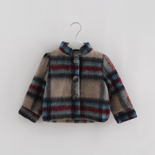 Korean Clothes 2016 Autumn Winter Clothing Girls Wool Coat Child Double Breasted Woollen Overcoat Girl Outerwear Tartan Clothing