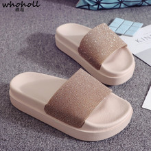 Whoholl Brand 2019 Women Slippers Summer Fashion Bing Beach Slides Outdoor Home Casual Shoe Flat Size 40