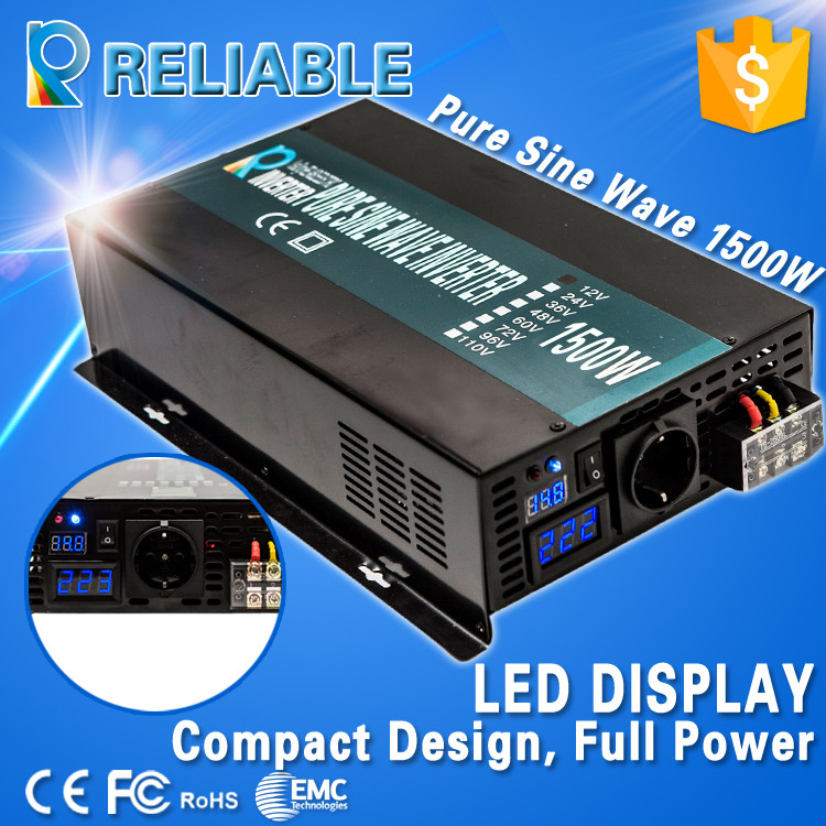 Digital Display 1500W Continuous 3000W Peak off-grid Pure Sine Wave Power DC AC Inverter 1500W Solar Power Inverter 1500W peak power 3000w rated power 1500w pure sine wave inverter dc12v to ac 220v 50hz power inverter