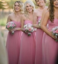 Cheap Stock Pleat Sweetheart Long Pink Chiffon Bridesmaid Dresses Vestidos De Madrinha Green Coral Navydresses For Bridesmaids