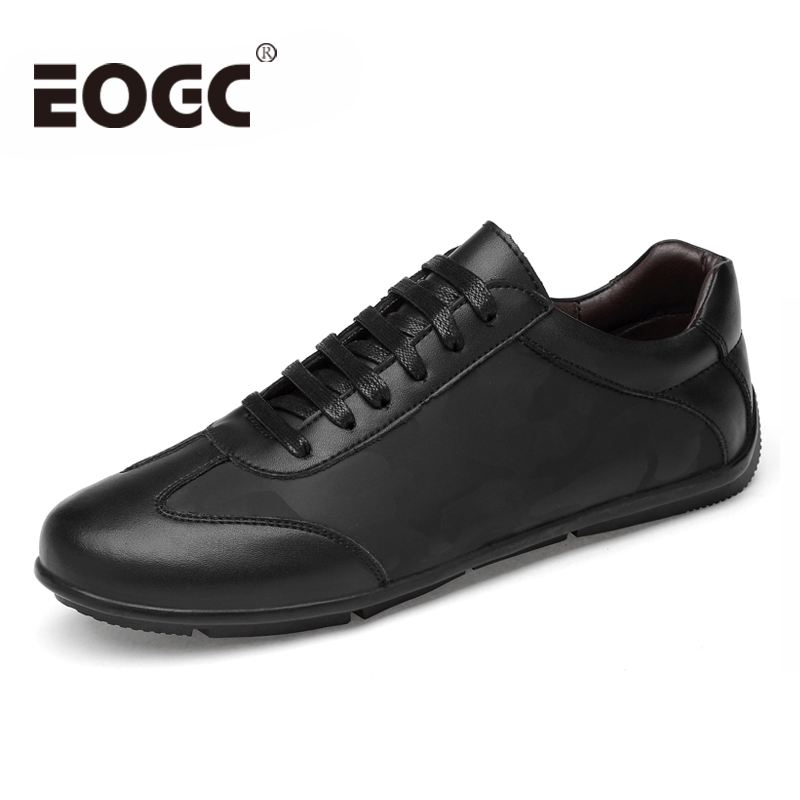 Size 38~46 Men's Leather Casual Shoes Autumn Genuine Leather Men Shoes Lace-Up Men Flats Fashion Black Men Loafers