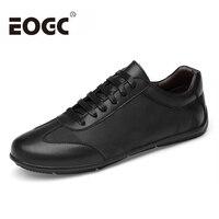 Size 38~46 Men's Leather Casual Shoes Autumn Genuine Leather Men Shoes Lace Up Men flats Fashion black men loafers