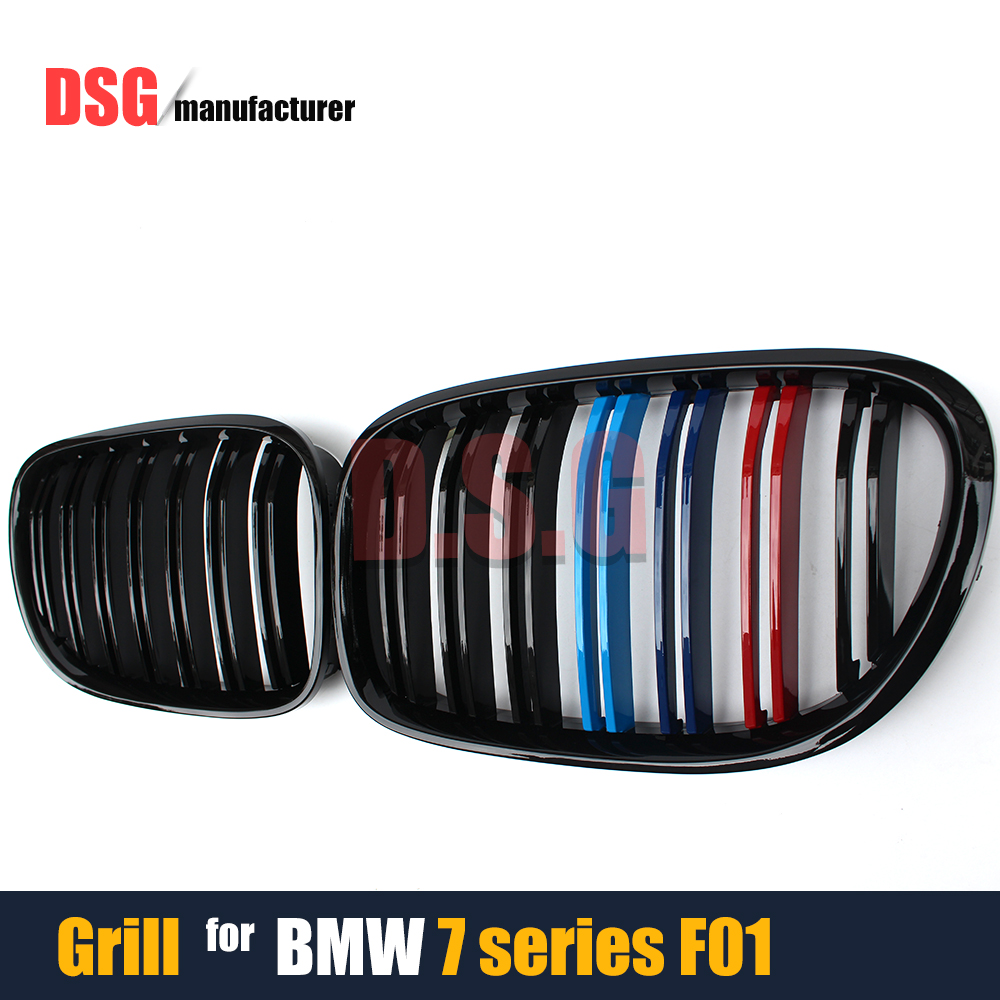 F01 Front Bumper Grills M Engine Color Kidney Racing Grille For BMW 7 Series F01 F02 F03 F04 2010 - 2015 Model 740i 750i Mesh 2pcs white daytime running lights drl led fog lamp for bmw 7 series f01 f02 730i 740i 750i 760i 2009 2012