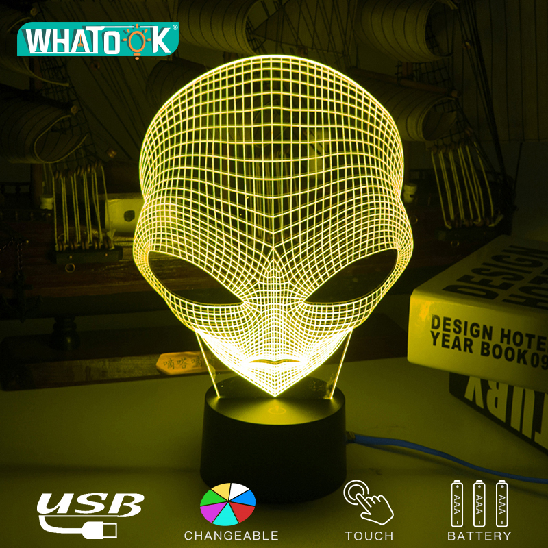 Unique Alien 3D LED Acrylic Night Lights Cartoon Fashion Table Lamps USB Illusion Lighting Touch Extraterrestrial Luminous Gifts