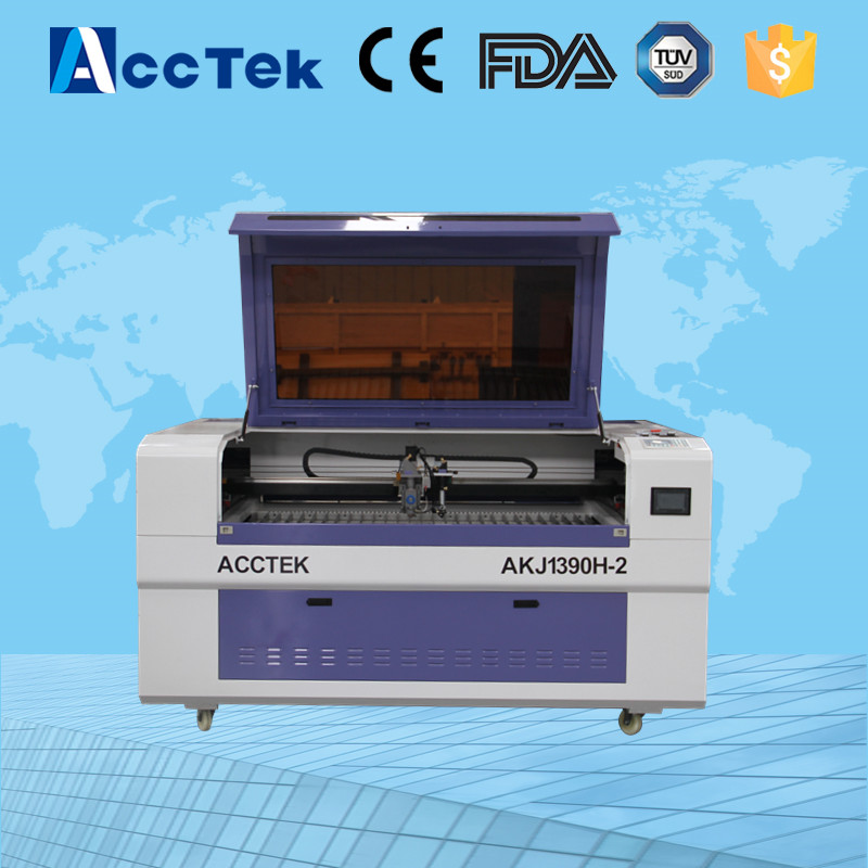 Carbon stainless steel metal cnc laser cutting machine 150w AKJ1390 with Hiwin guide rail