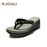 Jidali Fashion Wedge Women Flip Flops Platform Ladies Shoes High Eva Rivets Bling Outside Sport Grey Sandals Summer Size 35 39
