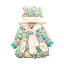 ba1d2578549bc 冬暖かいベビー防寒着かわいいウサギの耳フード付きプリント赤ちゃんの女の子アウター新生児幼児の女の子パーカー幼児コート