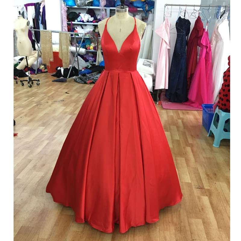 Sexy Ball Gowns   Prom     Dresses   2019 Sample Straps with V Neck Floor Length Vestidos De Fiesta gala Jurken