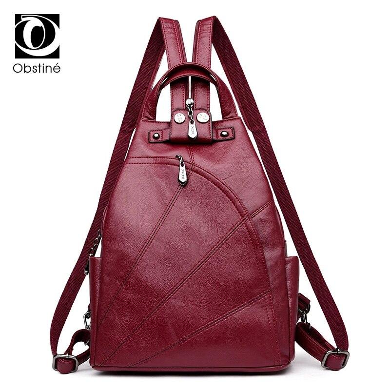 Soft PU Leather Backpacks Female Multifunctional Anti Thief Backpack Waterproof Bagpack Women Vintage Large Capacity Back Pack