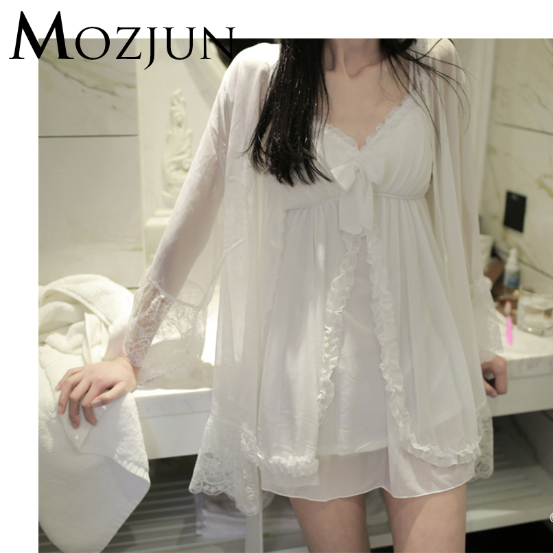 4339f53a45 White Sexy See Through Nightgown 2 Piece Set Women Sheer Mesh Long Robe For  Women Clothes 2018 Brand Mozjun  MZ141