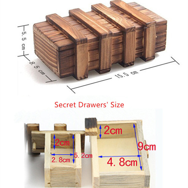 Wooden Magic Box Brain Teaser Educational Toys 3D Puzzle Box Toy for Kids  For Children Kids with Extra Secure Secret Drawer