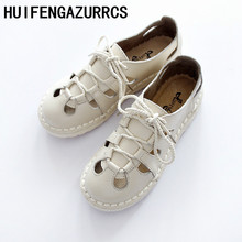 HUIFENGAZURRCS-Free shipping,2019 Summer literary and artistic Fltas shoes, homemade cowhide thick bottom women shoes,3 colors