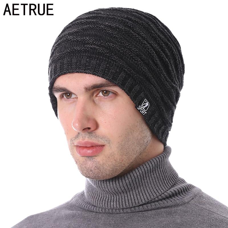 AETRUE Winter Knitted Hat Men Women   Skullies     Beanies   Winter Hats For Men Warm Baggy Thick Bonnet Sport Mask Male   Beanie   Hat Cap