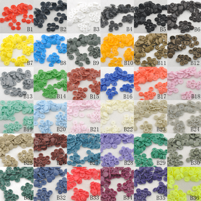 50Sets  KAM T5 baby Resin snap buttons plastic snaps clothing accessories Press Stud Fasteners Poppers 18 colors 1.2cm