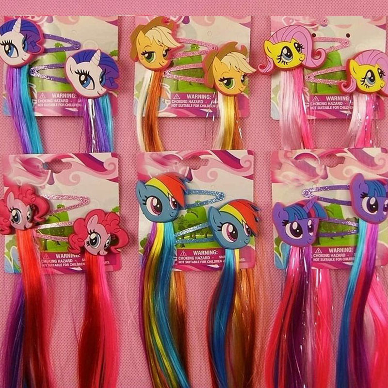 Fashion Lovely Little Horse Cartoon Hair clips Unicorn Hairpin Kids Girls hair accessories with Long Colorful Wig Decoration  2pcs 1lot little ponys princess braid wig hair clips hairpin headdress party hairgrips cosplay hair accessories headband
