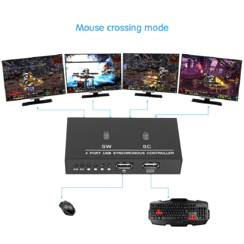 ALLOYSEED 4 Ports USB Synchronous Controller Keyboard Mouse Synchronizer for tablet Computer Multiple PC Game Control цена